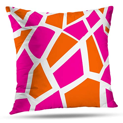 Pakaku Throw Pillows Covers for Couch/Bed 16 x 16 inch,Funky Hot Pink Orange Modern Geometric Patch Splicing Home Sofa Cushion Cover Pillowcase Gift Decorative Hidden Zipper Design Cotton (Pink Covers Cushion Hot)