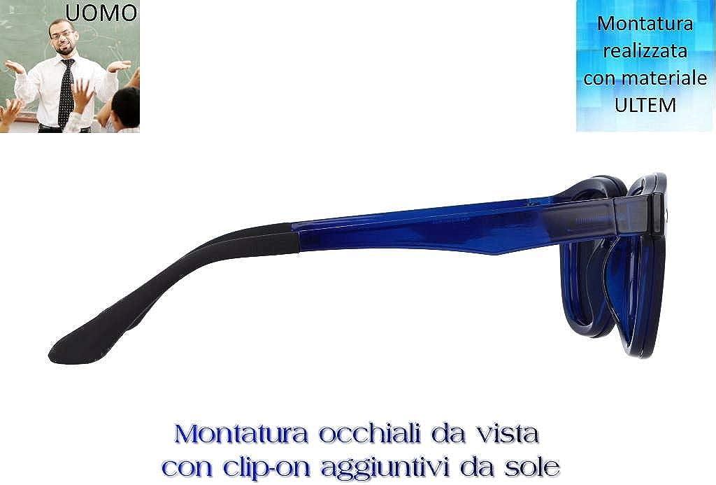 """THEMA 286 Colore 004 BLU SCURO Montatura per occhiali da vista e sole con 1 CLIP-ON Original /""""99 John St NYC/"""" Genere UOMO"""