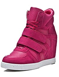 D2C Beauty Women's Velcro Lace-up Suede Leatherette Wedge Sneakers