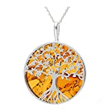 Cognac Baltic Amber Sterling Silver 925 Beauty Pendant Big. KAB-274