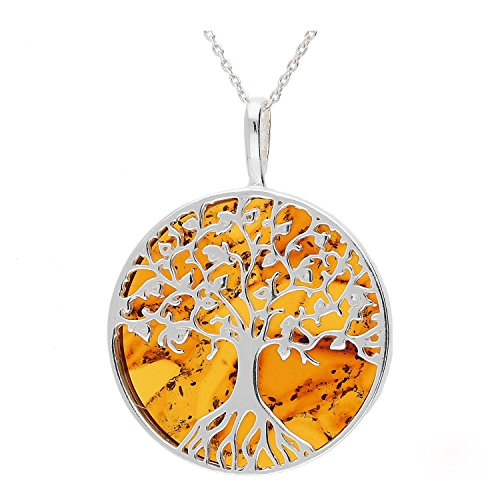 (Cognac Baltic Amber Sterling Silver 925 Beauty Pendant Big. KAB-274)