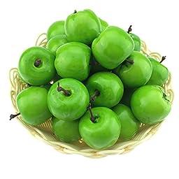 Gresorth 30pcs Artificial Lifelike Simulation Small Green Apples Set Decoration Fake Fruit Home House Display - 3.5 cm