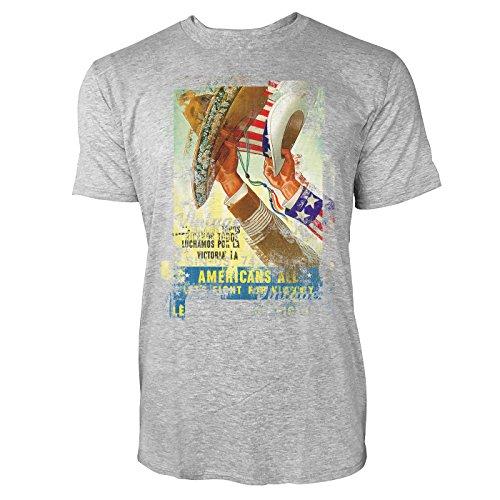 SINUS ART® Americans Herren T-Shirts stilvolles hellgraues Cooles Fun Shirt mit tollen Aufdruck