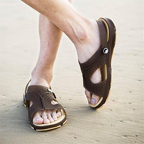 EU flatless caviglia 44 Antiscivolo Dimensione Nero Color alla Sunny da con amp;Baby Sandali cinturino uomo Marrone E1wwqB6p8