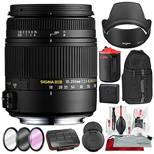 Sigma 18-250mm F3.5-6.3 DC Macro OS HSM for Nikon F Mount DSLR Cameras with Xpix Camera Cleaning Kit and Accessory Bundle