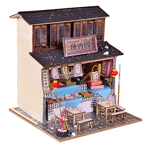 - SM SunniMix 1/24 DIY Wooden Dollhouse Miniature Kits - Antique Snack Shop Delicious Foods