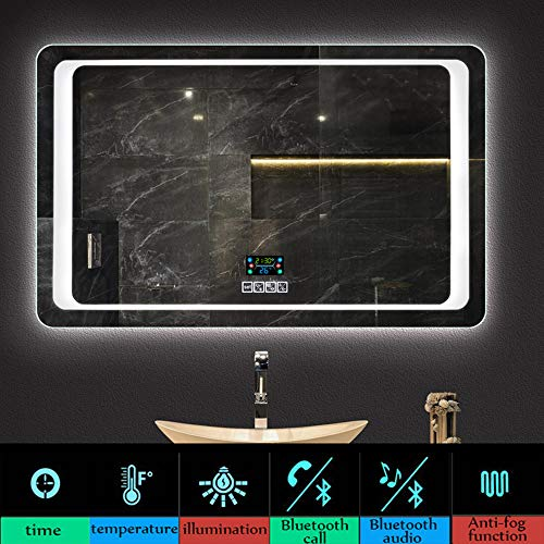 Bathroom mirror 600×800MM Modern Illuminated LED, Rectangular Mirror, HD Vanity Mirror Shaving - Led Illuminated Sensor Demister Mirrors Bathroom