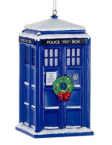 (Kurt Adler Doctor Who Tardis With Wreath Light-up Christmas Ornament)
