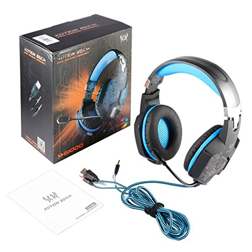 GOGOUP Each G1000 3.5mm PC Stereo Gaming Headset Integrated Microphone Over-Ear fit Noise Isolation Breathing LED Light