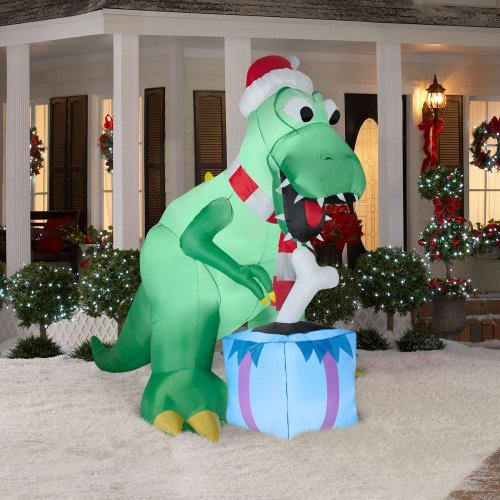 Gemmy CHRISTMAS DECORATION LAWN YARD INFLATABLE T-REX DIN...