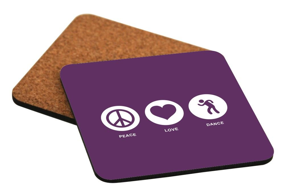 Rikki Knight Peace Love Dance Purple Color Design Cork Backed Hard Square Beer Coasters, 4-Inch, Brown, 2-Pack