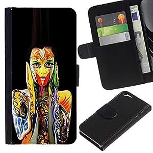 KLONGSHOP // Tirón de la caja Cartera de cuero con ranuras para tarjetas - pintura corporal susto - Apple Iphone 6 //