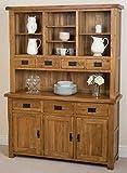 Cotswold Rustic Solid Oak Large Dresser Dining Furniture, (1,390 x 425 x 1,892 cm)
