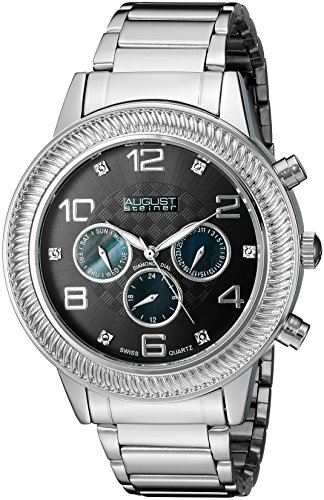 August Steiner Men's AS8121SSB Swiss Quartz Multifunction Diamond Mother-of-Pearl Gun Dial Silver-tone Bracelet Watch