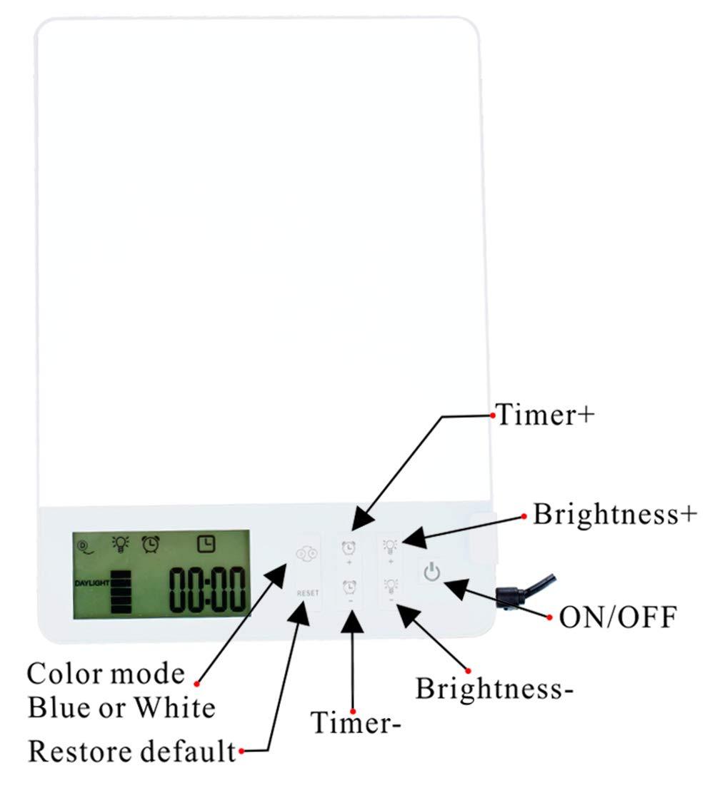 luz diurna LED port/átil 10000 Lux azul y blanco BAOMING/® L/ámpara LED S,A-D para trastornos afectivos estacionales