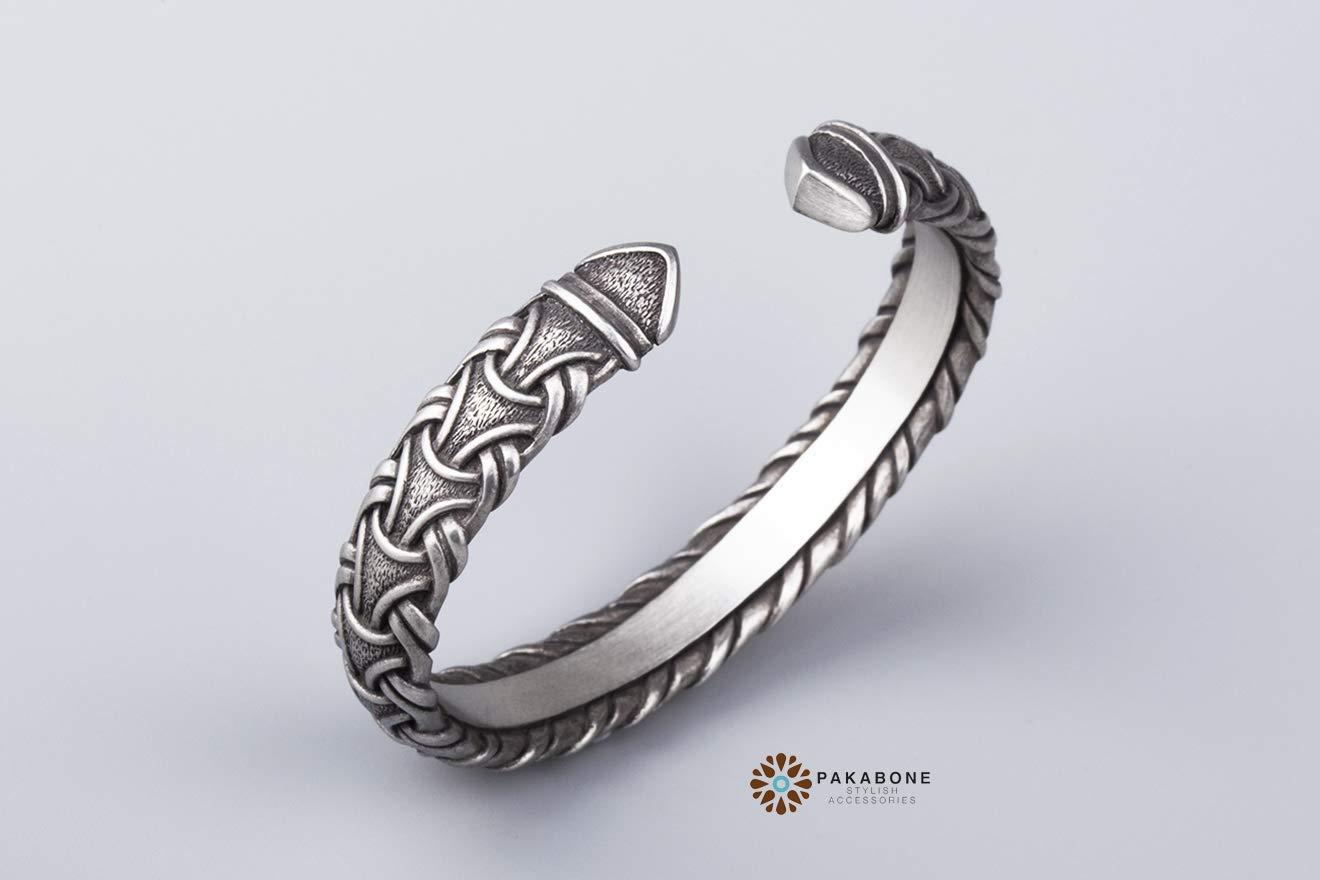 Scandinavian Germanic Design Viking Bracelet Norse Metal Arm Ring with Viking Pattern Nordic Pagan Jewelry for Men Women
