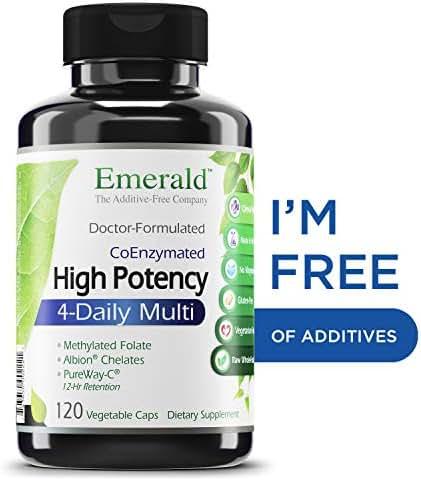 High Potency 4-Daily Multi - Multivitamin Clinical Potency Formula + CoQ10 & Vitamin K2 MK-7 - Emerald Laboratories - 120 Vegetable Capsules