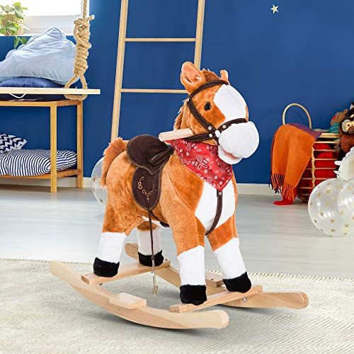 Festnight Child Rocking Horse Ride on Plush Toy Baby Rocker with Realistic Sounds with Red Scarf