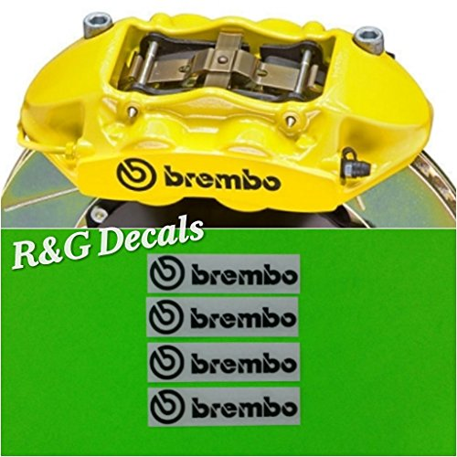 R&G Brembo 4 PISTON HIGH TEMP Brake Caliper Decals Sticker Set of 4 (Black)