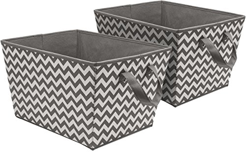 Tapered Storage Basket - Sorbus Storage Basket Bins, Tapered Chevron Fabric Baskets for Household Essentials, Foldable & Portable for Nursery, Closet, Car, and more
