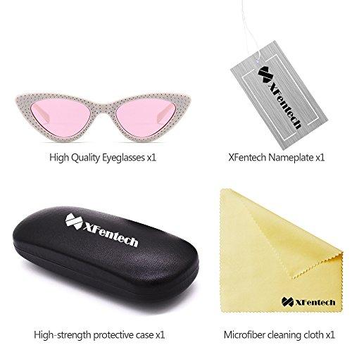 Lentille Lunettes Triangle de Mode Femmes Rose Classique Cadre Chat Rétro XFentech Blanc soleil Lunettes UV400 Œil de XTaUnvxvg