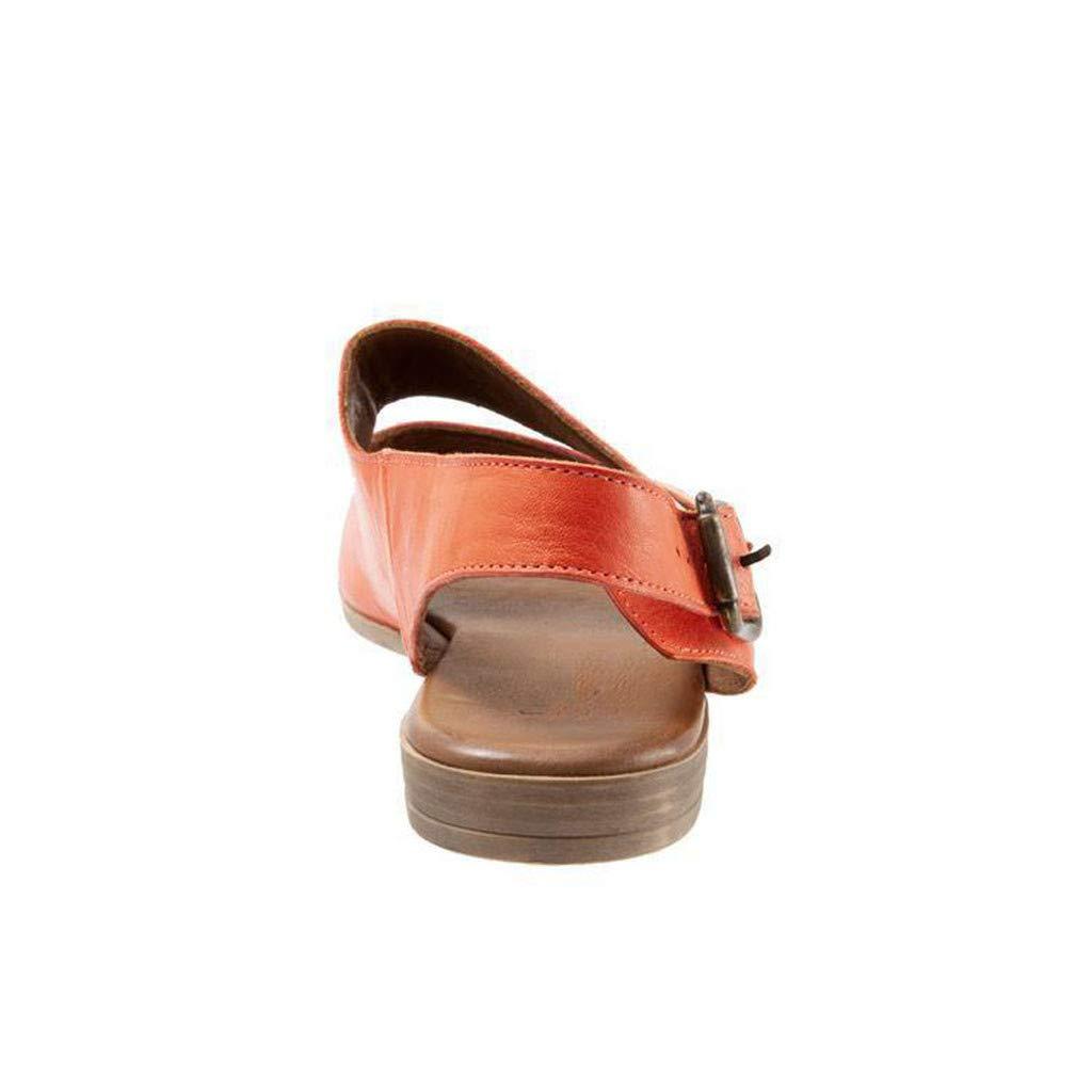 Thenxin Summer Women's Flat Sandal Retro Buckle-Strap Casual Peeptoe Flip Flop Roman Shoes (Orange,5 US) by Thenxin (Image #3)