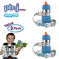 PBnJ Baby SippyPal Sippy Cup Holder Strap Leash Tether (Beach 2-Pack)