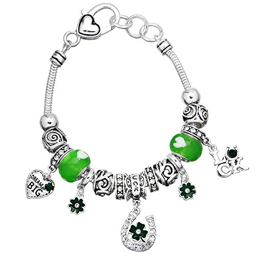 Lola Bella Gifts Good Luck St. Patricks Day Clover Charm Bracelet with Gift Box