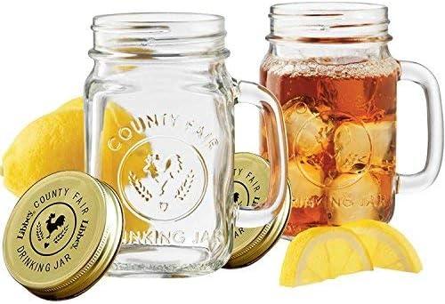 Glass Mason Jar Taza de avena durante la noche, jarra de conservación de vidrio hecha en casa, vaso para beber, 480 ml, 2 sets ,Con tapa。: Amazon.es: Hogar