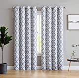 HLC.ME Lattice Print Thermal Insulated Blackout Window Curtains for Bedroom - Platinum White & Grey - 52