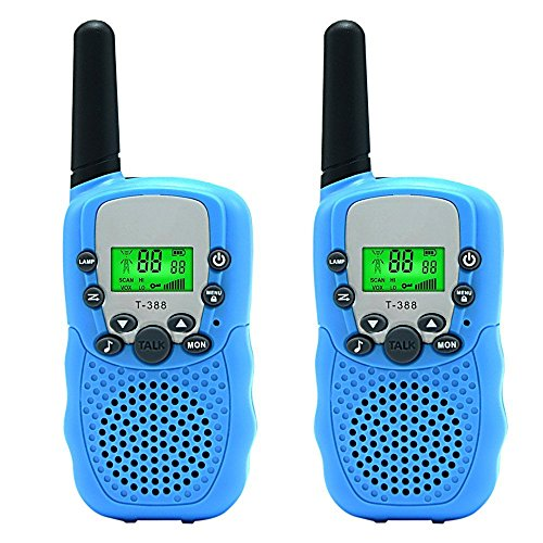 Pemalin Walkie Talkies For Boys Girls Camping Hiking Outdoors,Family Communication FRS Two-way Radios Long range with Rechargeable Jack, Best Gift for 3 years or Above(1 Pair, T388 Blue)