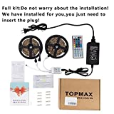 Led Strip,Topmax, 5050 32.8Ft /10M Led Strip Lights,RGB Led Strips Lighting Kit +44 Key Remote+12V 5A US Charger (built-in IC and fuse) Power Supply