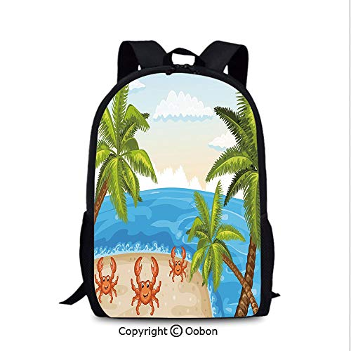 Soft Comfortable Backpack, Cartoon Style Illustration of Palm Trees and Crabs on, School Bag :Suitable for Men and Women, School, Travel, Daily use, etc.Aqua ()
