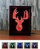 L&T STAR Elk Head Fashion Creative 3D Gift Lamp Bedside Lamp Led Night Light Decorative Atmosphere Colorful Photo Frame Lights