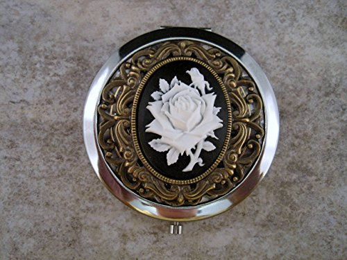Victorian Rose Mirror - Handmade Victorian Silver Rose Cameo Compact Mirror