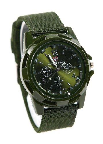 shot-in Mens Boys Sports Military Black Nylon Band Quartz Wrist Watch (Army -