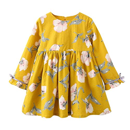 kaifongfu Toddler Dresses,Kids Baby Girl Clothes Long Sleeve Floral Bowknot Party Princess Dresses (Yellow, 100♣♣3T)