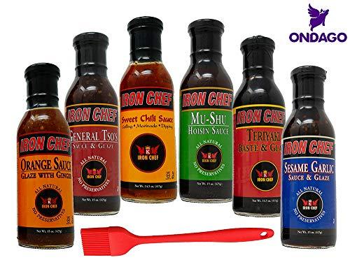 (Iron Chef 6 Pack Variety Sauces - General Tso's, Teriyaki Base and Glaze, Orange Sauce, Sesame Garlic, Mu-Shu Hoisin, Sweet Chili Sauce with Basting Brush)