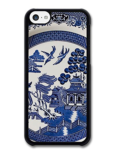 Blue Porcelain Style Hand Painted Asian Inspired Design with Doves case for iPhone 5C
