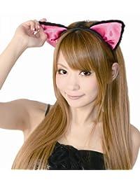 Fluffy cat ear headband ear before black / pink (japan import)