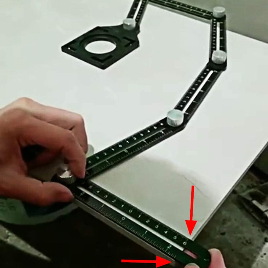 JunYe 6 Regla Plegable Orificio para Azulejos Posicionamiento de Varias Plantillas Reglas en /ángulo con gu/ía de Broca para carpinter/ía de perforadoras
