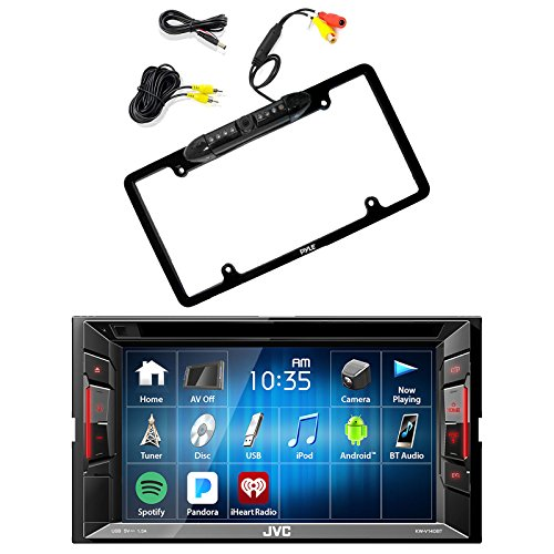 JVC Double Din Bluetooth In-Dash DVD/CD/AM/FM Car Stereo Receiver w/Touchscreen with Pyle PLCM16BP Car License Plate Frame Rear View Backup Camera