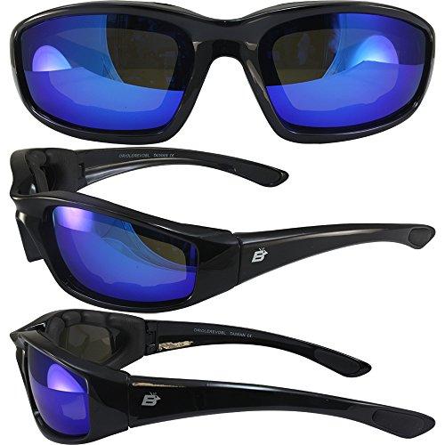 Birdz Eyewear Oriole Padded Motorcycle Riding Sunglasses Gloss Black Frames Blue G-Tech Reflective - Blue Sunglasses Tech
