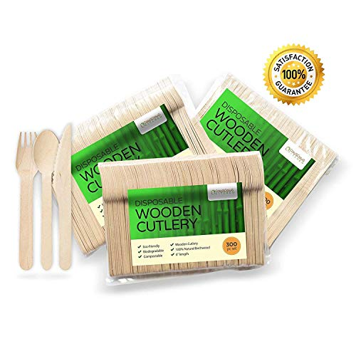 Wooden Disposable Cutlery 300 pc set: 100 Forks, 100 Spoons, 100 Knives, 6