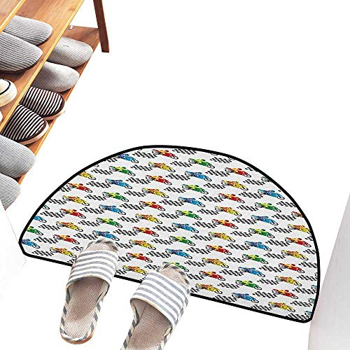 (Axbkl Fashion Door mat Motorcycle Sports Bike with Racing Riders Among Black and White Chequered Flags Competition Easy to Clean Carpet W31 xL20 Multicolor)