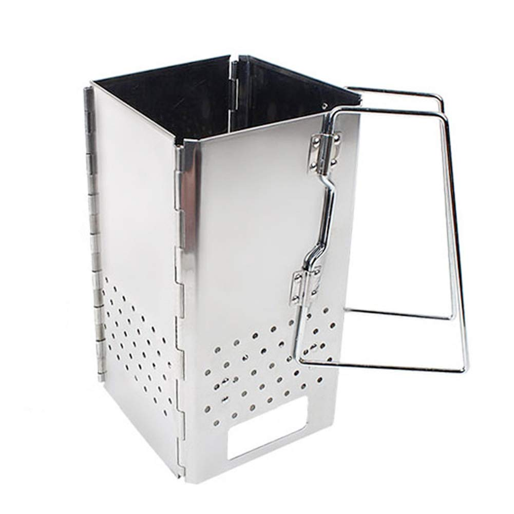 Portable Compact Cube Charcoal Chimney Starter, 11.4''X 6.4'' Stainless Steel Lighter Basket, Outdoor Cooking Rapid Fire Briquette Starters for Grill
