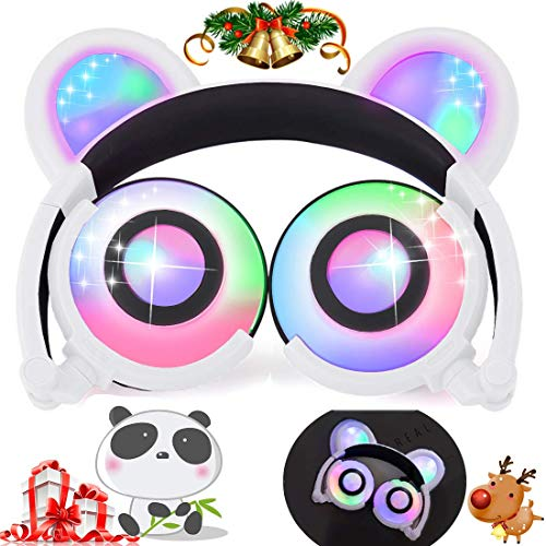 Kids Bear Ear Panda Headphones with LED Backlight USB Rechargeable Wired On/Over Ear Game Headsets 85dB Volume Limited 3.5mm Jack Earphone for iOS Android Girls Boys Toddlers School Gifts[Super Sale]