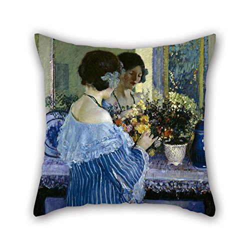 Roll Winter Wonderland Room (Oil Painting Frederick Carl Frieseke - Girl In Blue Arranging Flowers Pillowcover Best For Dance Room Festival Girls Outdoor Family Shop 16 X 16 Inches / 40 By 40 Cm(each Side))