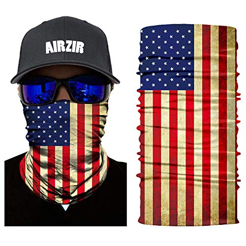 (Airzir American Flag Face Mask Premium Breathable Seamless Motorcycle Face Mask Wind Dust UV Protection Moisture Wicking Microfiber Face Mask for Motorcycle Riding Cycling Hiking Climbing)