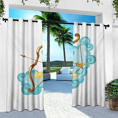Yellow Gold Dora - leinuoyi Zodiac Sagittarius, Outdoor Patio Curtains, Astrology Themed Cartoon with Bow and Arrow on Clouds, for Privacy W84 x L108 Inch Pale Blue Gold Pale Yellow